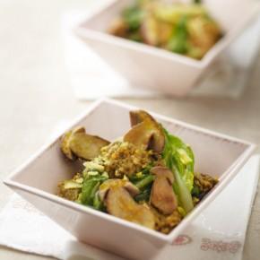 Blettes et cèpes au risotto de boulgour épicé