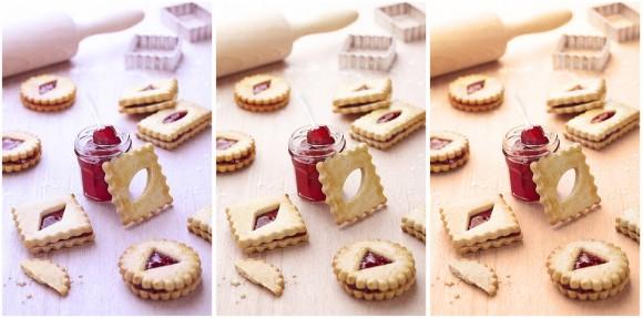 Filtres sur une photo culinaire de petits gâteaux.