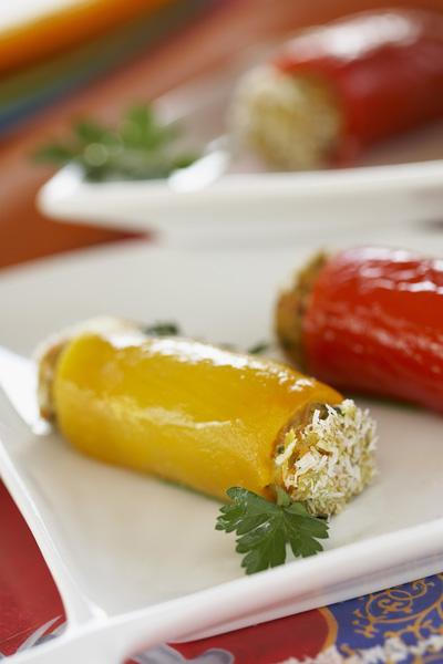 Photographie culinaire : rouleaux de poivrons, canard confit, lait de coco