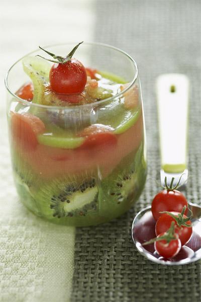 photographie culinaire : verrine tomate kiwi