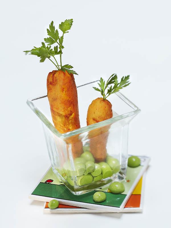 Photographie culinaire : petit pois carotte en trompe l'oeil