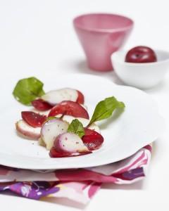 Photographie culinaire : salade de navets, pamplemousse, prune