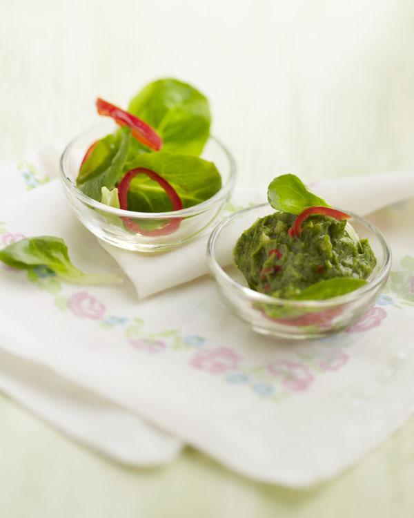 Photographie culinaire : guacamole avocat et mâche