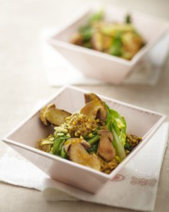 Photographie culinaire : risotto de boulgour, cèpes, blettes
