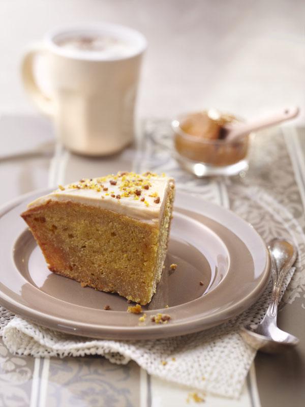 photographie culinaire : gateau okara argan safran, glaçage bergamote café