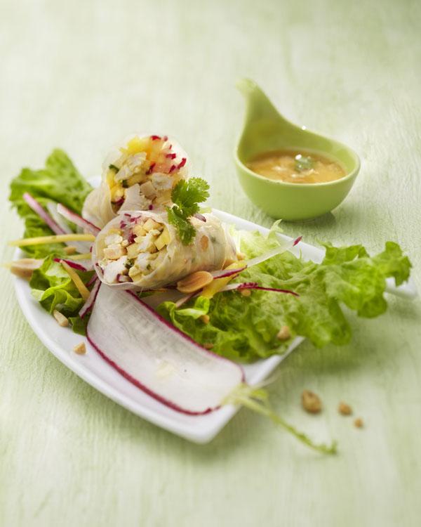 Photographie culinaire : roulé de poulet mariné en feuille de riz.