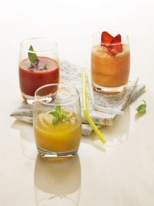 Photographie culinaire : shake smoothie lassi aux fruits d'été