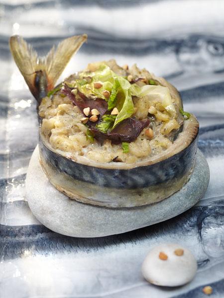 Photographie culinaire : risotto maquereau et algues