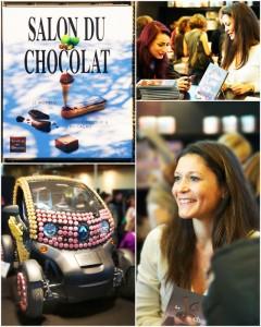 Photographie de dédicace au salon du chocolat : auteur styliste photographe culinaire Gwen Rassemusse
