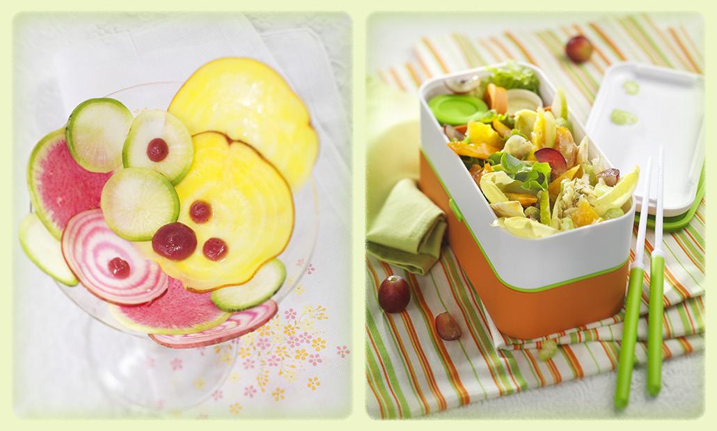 Photographie culinaire : bento d'aliments colorés