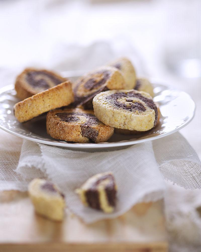 Photographie culinaire : sablés roulés bicolores