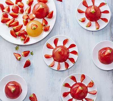 photographie culinaire : dôme de gelée de fraise