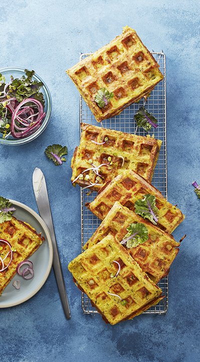 photgraphie culinaire : gaufres salées aux légumes