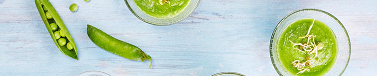 Photographie culinaire bandeau : crème de petit pois
