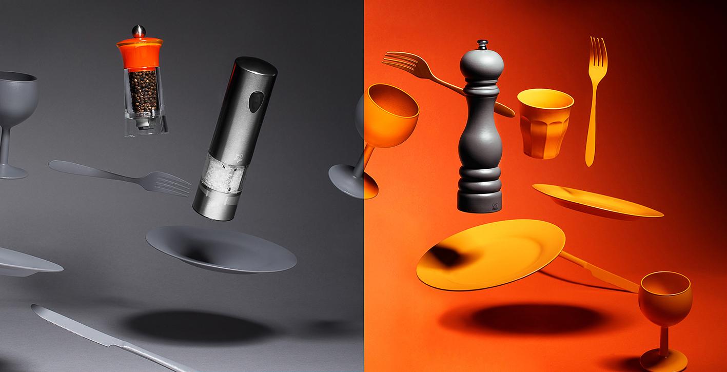Packshot : photo d'objet moulins sel et poivre